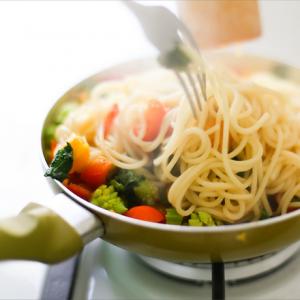 Спагеті з гарбузом і овочами